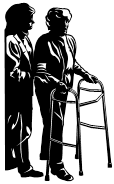 Helping an elderly person with a walker